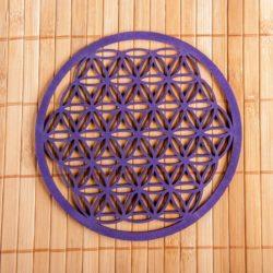 Blume des Lebens aus Holz 14,4 cm, lila