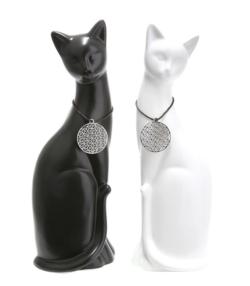 Katze schwarz weiß glasiert